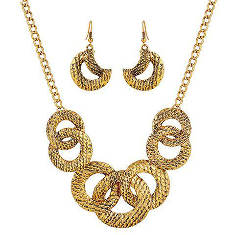 A Suit of Moon Round Necklace and EarringsJewelry<br><br><br>Color: GOLDEN