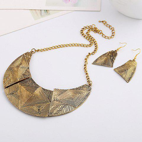 A Suit of Delicate  Alloy Geometric Necklace and Earrings For Women - GOLDEN