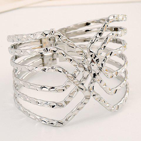 Hollow Out Opening Bracelet - SILVER