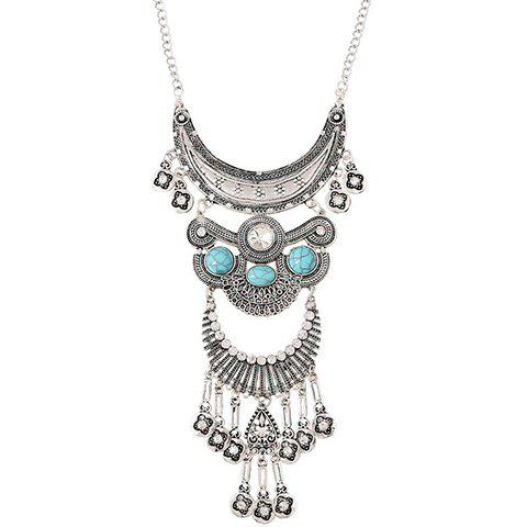 Rhinestone Faux Turquoise Moon Necklace - SILVER/BLUE