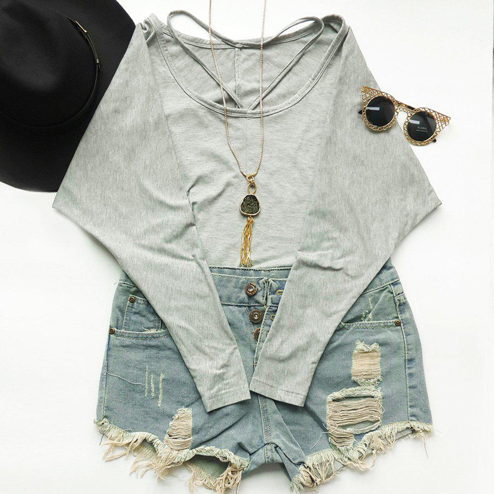 Stylish V-Neck Long Sleeve Solid Color Loose Women's T-Shirt - GRAY S