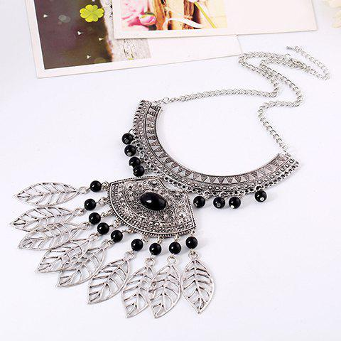 Leaf Hollow Out Beads Necklace - BLACK