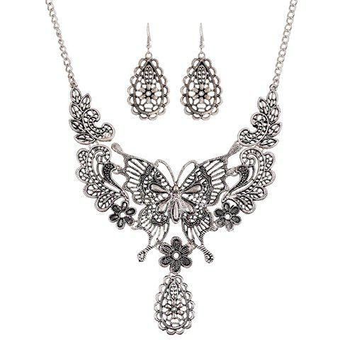Hollowed Filigree Butterfly Necklace and Earrings - SILVER