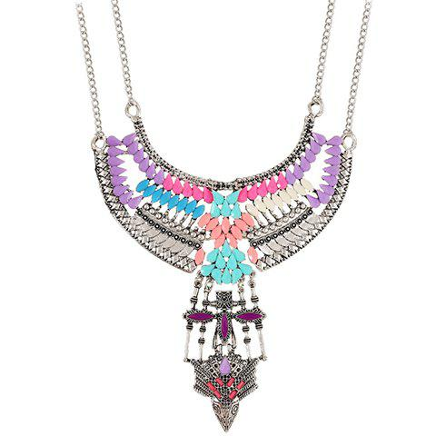 Faux Gem Water Drop Necklace - COLORMIX