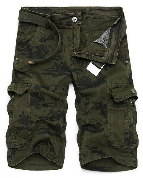 Multi-Pocket Loose Fit Straight Leg Zipper Fly Men's Camo Cargo Shorts - 34 ARMY GREEN