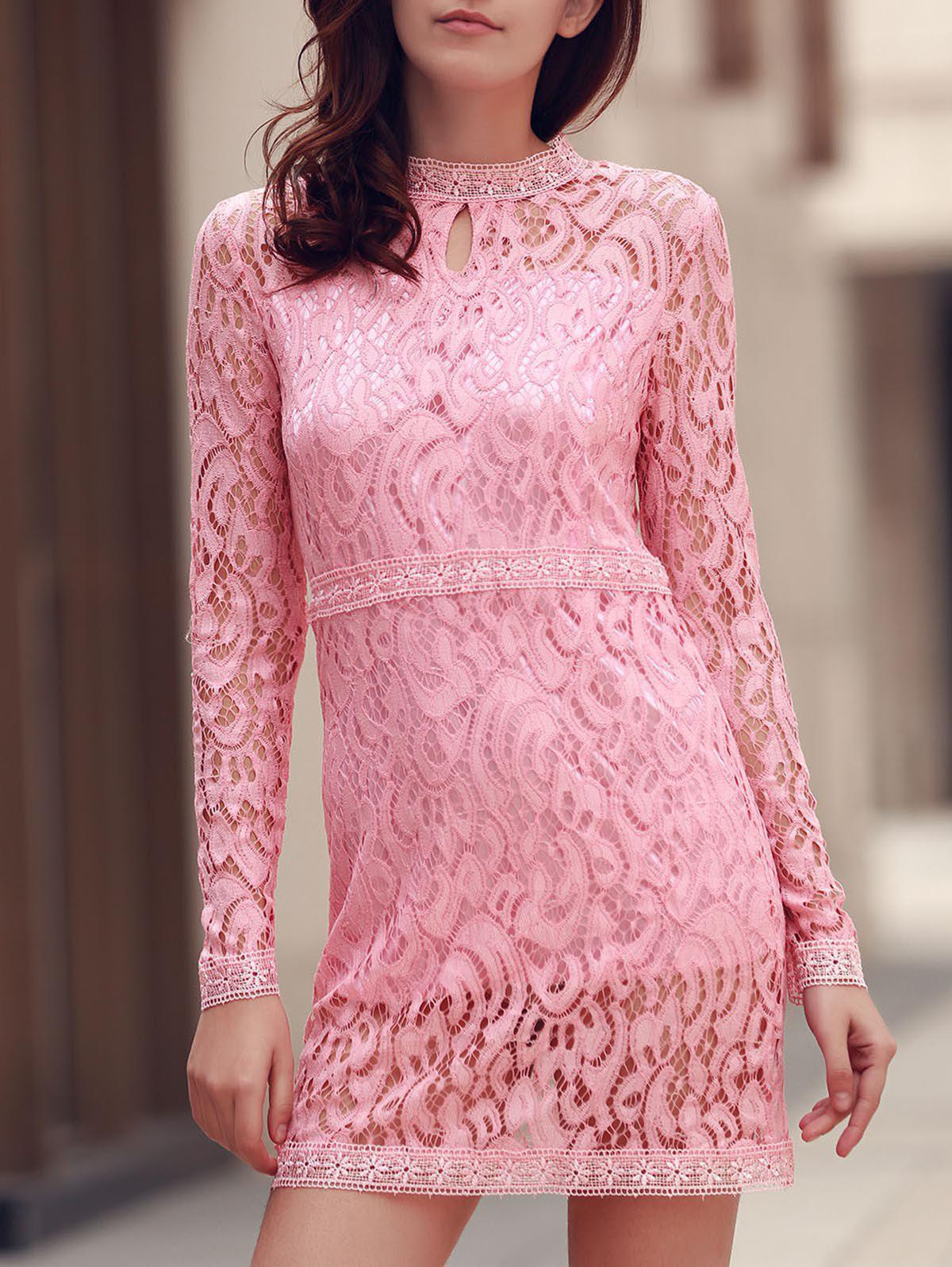 Stylish Women's Keyhole Neck Long Sleeve Lace Dress - PINK L
