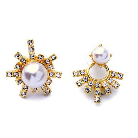 Pair of Faux Pearl Rhinestone Earrings - GOLDEN