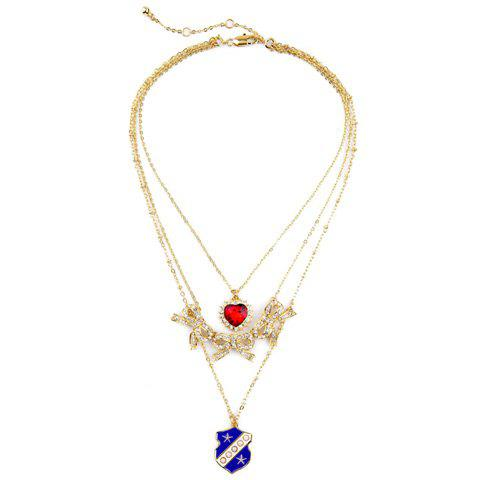 Rhinestone Multilayered Bowknot Heart Necklace - GOLDEN
