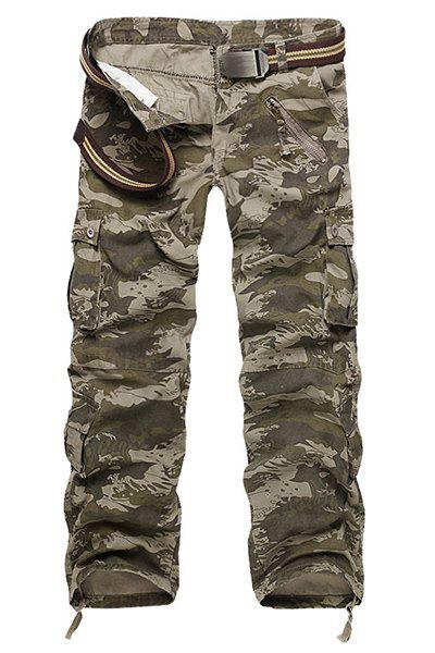 Camouflage Straight Leg Multi-Pocket Men's Loose Fit Cargo Pants - CAMOUFLAGE 30