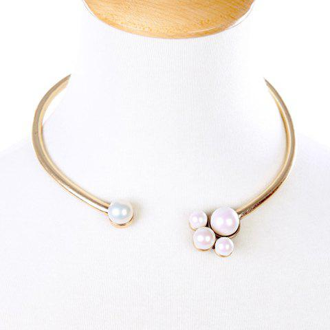 Chic Faux Pearl Elastic Necklace For Women - GOLDEN
