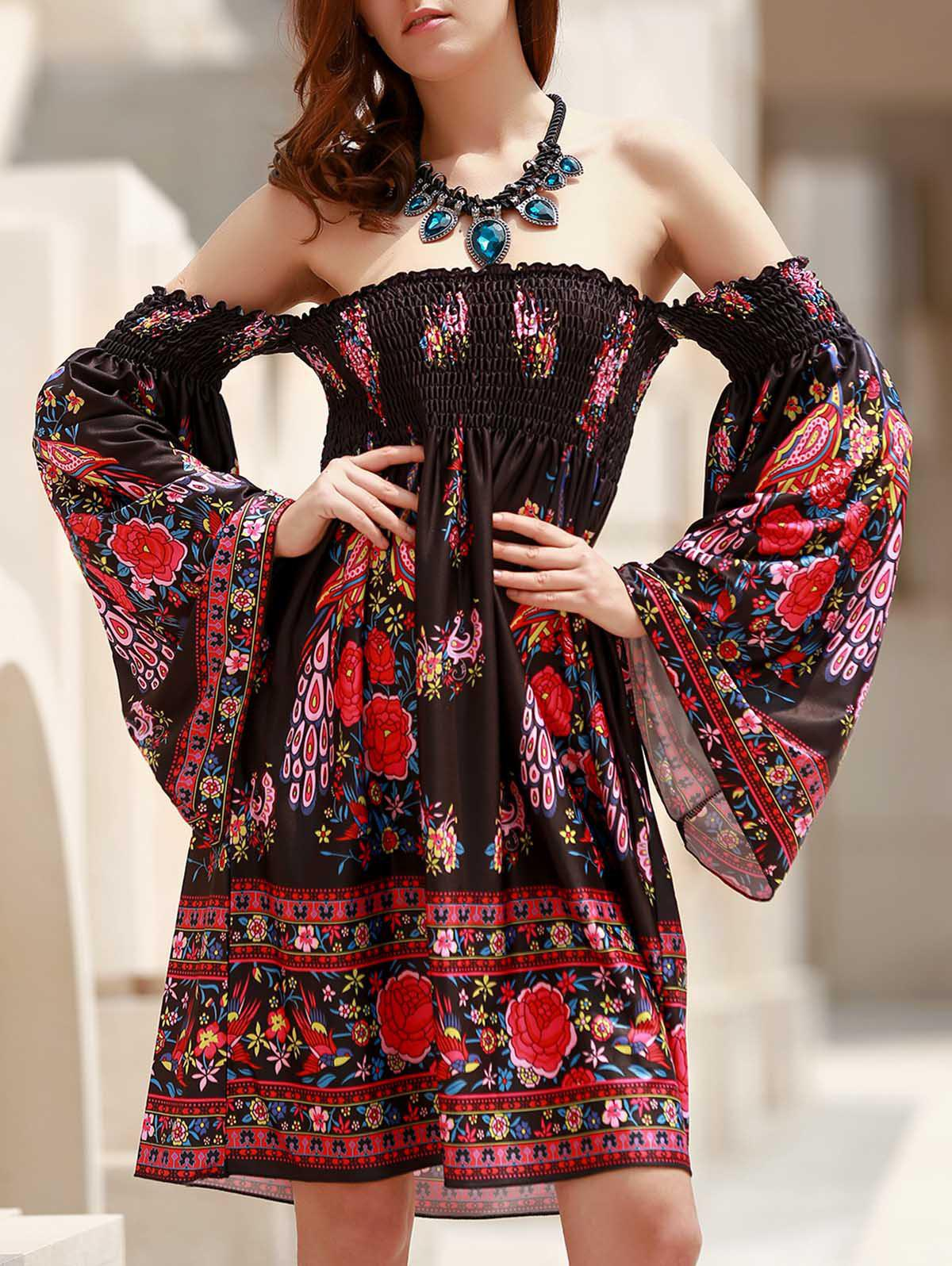Bohemian Long Sleeve Off-The-Shoulder Floral Print Women's Dress - BLACK ONE SIZE(FIT SIZE XS TO M)