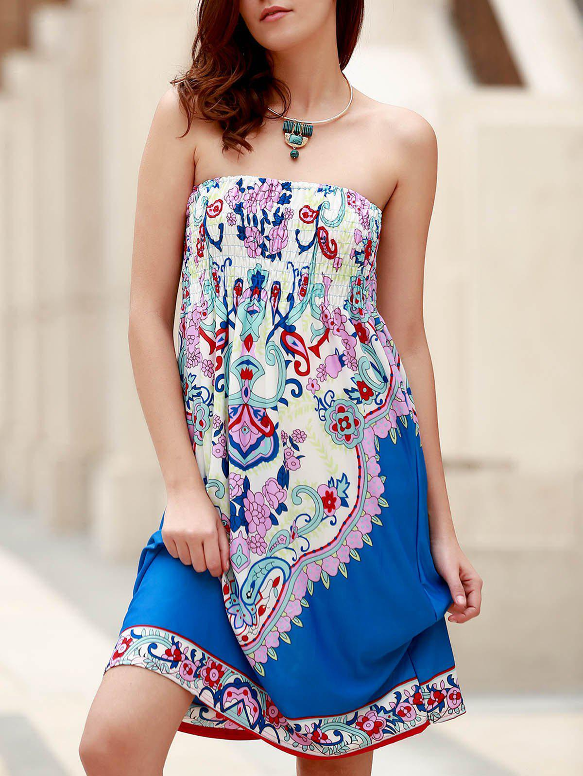Bohemian Sleeveless Strapless Floral Print Women's Dress - BLUE ONE SIZE(FIT SIZE XS TO M)