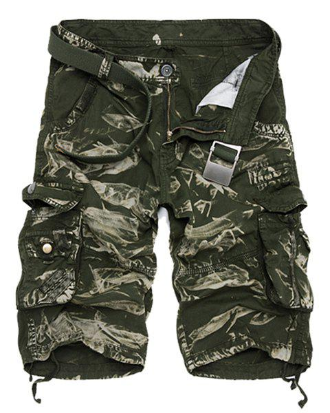 Military Style Zipper Fly Multi-Pocket Loose Fit Straight Leg Men's Camo Shorts - GREEN 38