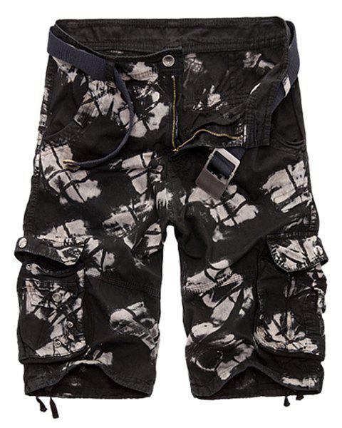 Military Style Zipper Fly Multi-Pocket Loose Fit Straight Leg Men's Camo Shorts - BLACK 29