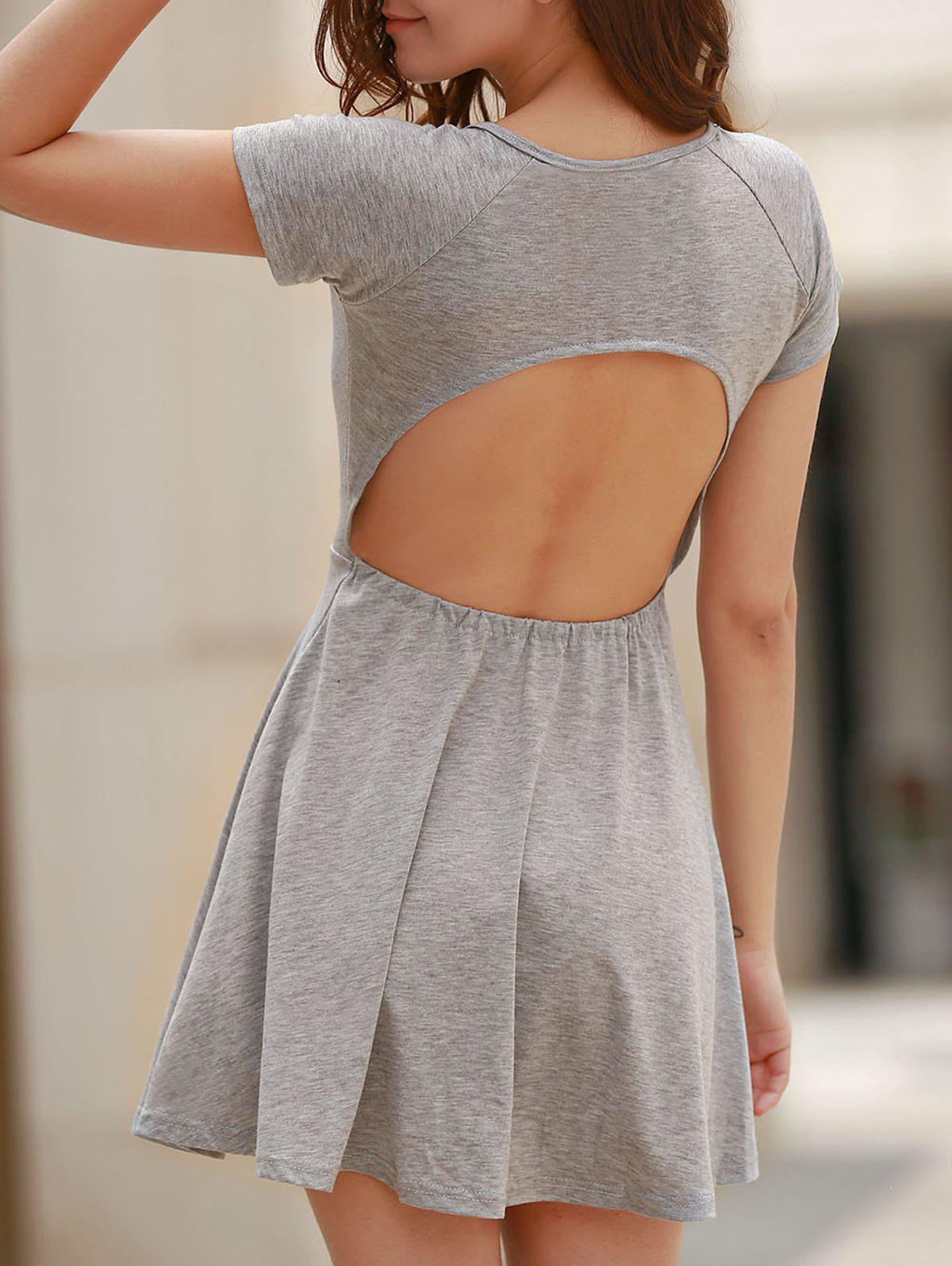 Sweet Gray Scoop Neck High Waist Backless Dress For Women - GRAY L