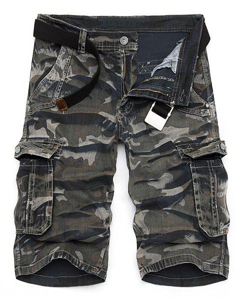 Camo Print Multi-Pocket Loose Fit Straight Leg Zipper Fly Men's Cargo Shorts