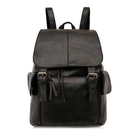 Fashionable Solid Colour and Double Buckle Design Women's Backpack -  BLACK