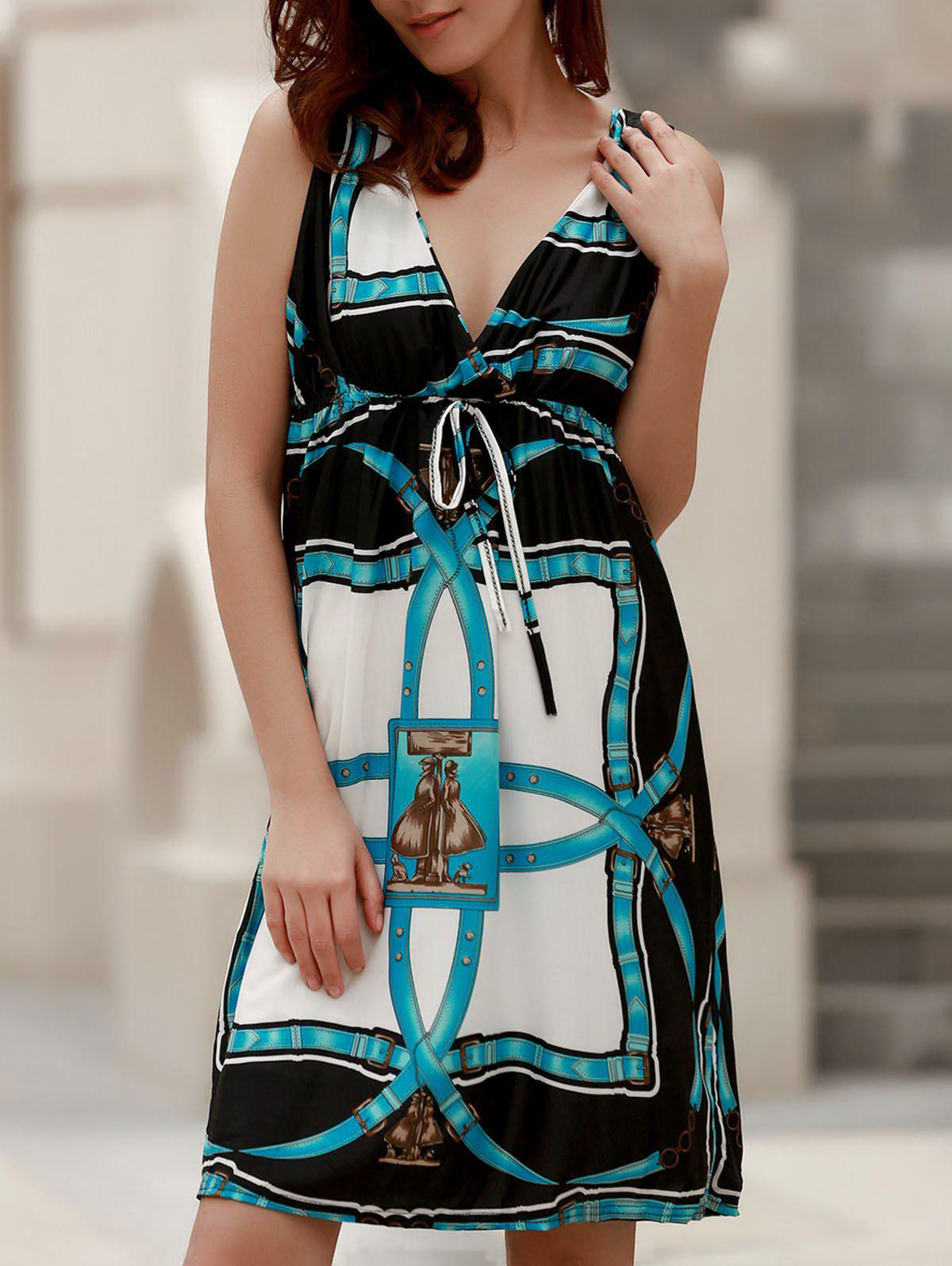 Chic Sleeveless Plunging Neck Printed Women's Dress - LIGHT BLUE ONE SIZE(FIT SIZE XS TO M)