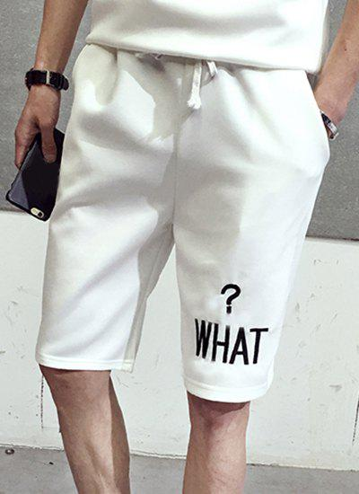 Casual Straight Leg Letter Pattern Printed Drawstring Men's Shorts