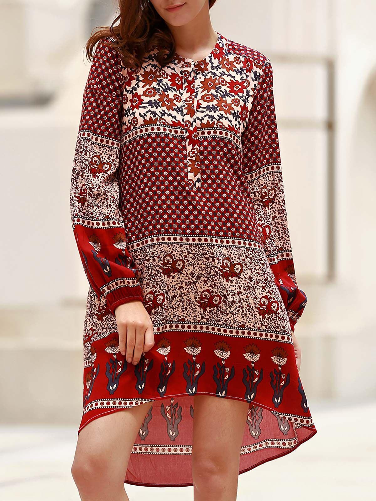 Retro Style Printed Jewel Neck Long Sleeve Asymmetric Dress For Women - WINE RED S