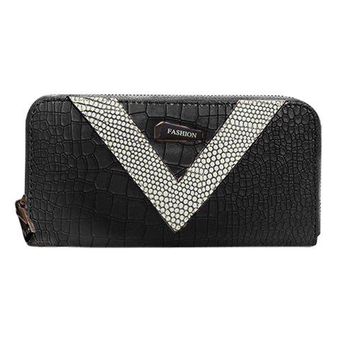 Stylish Colour Block and Zipper Design Women's Wallet - BLACK