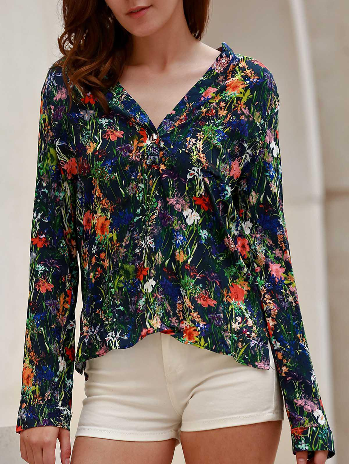 Chic V-Neck Floral Printed Long Sleeve Thin Blouse For Women - BLACK S