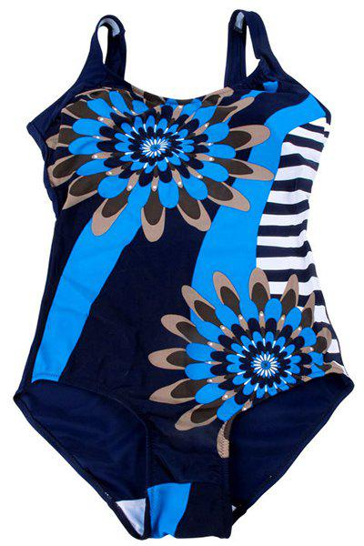 Chic Stripe Spliced Floral Pattern One-Piece Women's Swimwear - BLUE XL