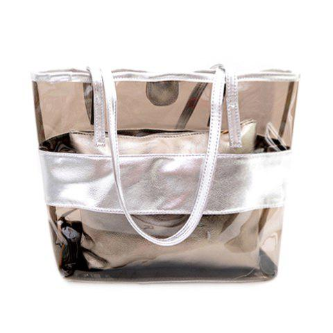 Trendy Splicing and Transparent Plastic Design Women's Shoulder Bag - SILVER