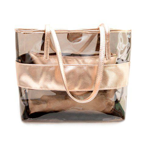 Trendy Splicing and Transparent Plastic Design Women's Shoulder Bag - CHAMPAGNE