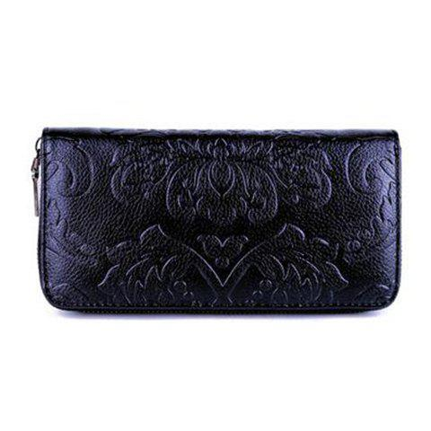 Chinese Style Solid Colour and Embossing Design Wallet For Women