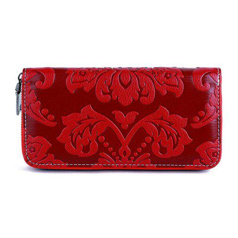 Chinese Style Solid Colour and Embossing Design Wallet For Women - RED