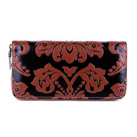 Elegant Embossing and PU Leather Design Women's Wallet - BROWN