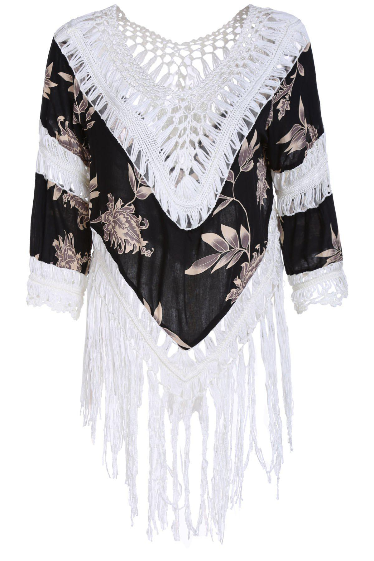 Fashion Hollow Out Printed Tassels Spliced T-Shirt For Women