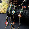 Floral Rhinestone Layered Pendant Necklace - GOLDEN