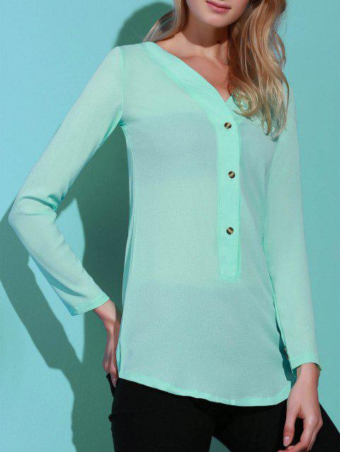 Refreshing Solid Color V-Neck Long Sleeve Loose Blouse For Women - AZURE XL