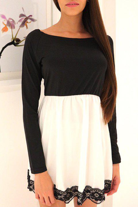 Lace Hem Long Sleeve Skater Mini Tunic Dress - WHITE/BLACK M