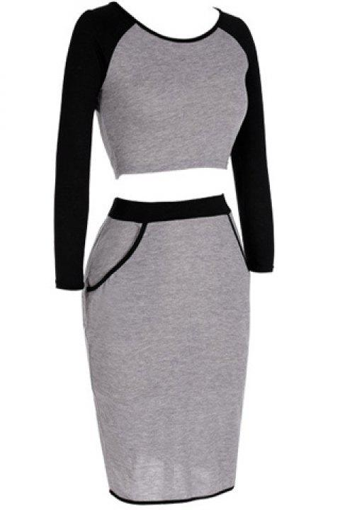 e603e16122 Trendy Jewel Neck 3/4 Sleeve Crop Top + Skirt Suit For Women - LIGHT. Out Of  Stock