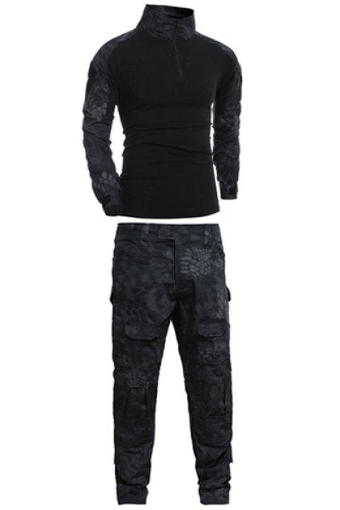 Men's Half Zip Outdoor Stand Collar Splicing Suits ( T-shirt + Pants ) - BLACK L