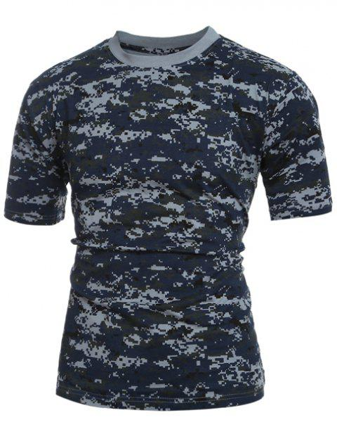 Men's Slim Fit Camo Short Sleeves Round Collar T-Shirt - CAMOUFLAGE 2XL