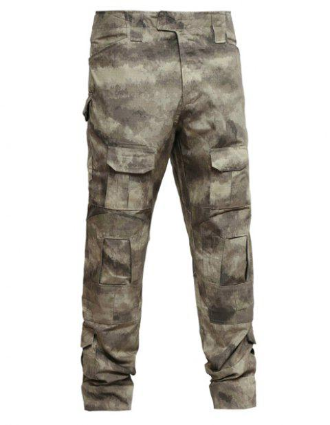 Men's Pockets Outdoor Training Camo Pants - CAMOUFLAGE L