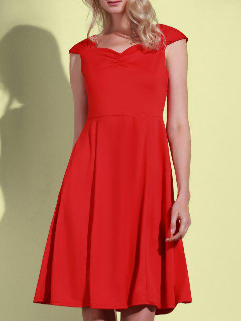 Retro Solid Color Sweetheart Neck Sleeveless Dress For Women - RED XL