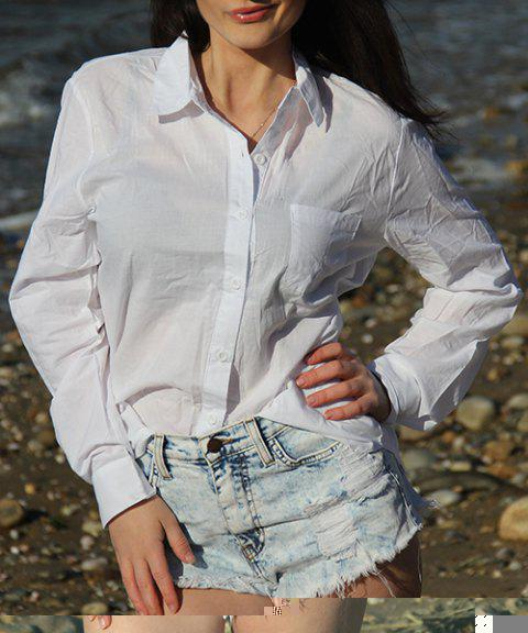 Casual Women's Solid Color Shirt Collar Long Sleeves Loose-Fitting Shirt - WHITE M