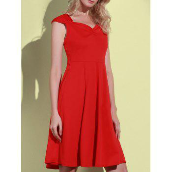 Retro Solid Color Sweetheart Neck Sleeveless Dress For Women - RED L