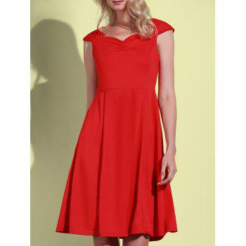 Retro Solid Color Sweetheart Neck Sleeveless Dress For Women - RED 2XL