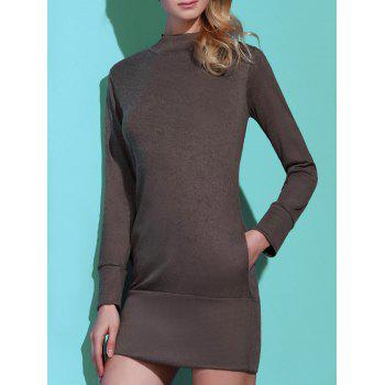 Brief Pure Color Turtleneck Long Sleeve Dress For Women - GRAY L