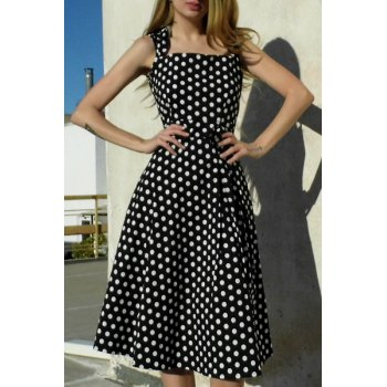 Vintage Turn-Down Collar Sleeveless Bowknot Embellished Polka Dot Women's Dress