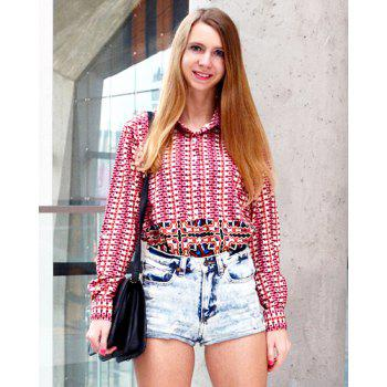 Ethnic Print Hit Color Long Sleeve Shirt For Women - COLORMIX S