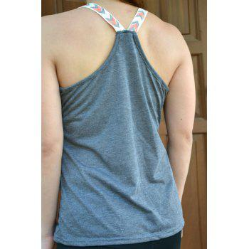 Elephant Print Graphic Scoop Tank Top - GRAY M