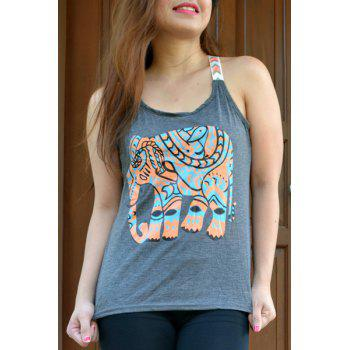 Elephant Print Graphic Scoop Tank Top