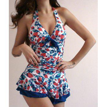 Cute Halter Bandage Strawberry Print One-Piece Women's Swimwear